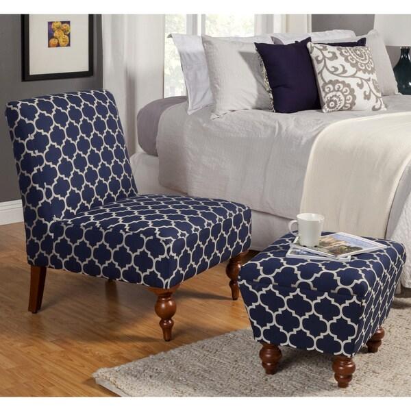 Homepop Slipper Blue Cream Quatrefoil Accent Chair And