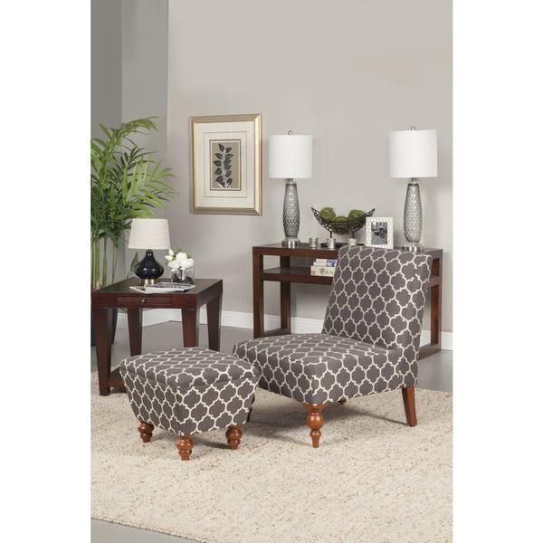Homepop Slipper Grey And Cream Quatrefoil Accent Chair And