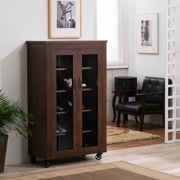 Cabinet Bedroom Furniture: Furniture Of America Layson Mobile Vintage Walnut