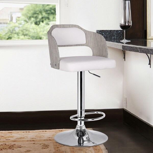 Adeco White Leatherette Bent Wood Chrome Hydraulic Lift