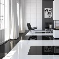 SomerTile 17.875x17.875-inch Pianoforte Black Ceramic Floor and Wall Tile (5 tiles/11.4 sqft.)