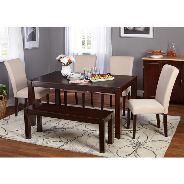 Simple Minimalist Dining Set: Simple Living Axis 6-piece Dining Set With Bench