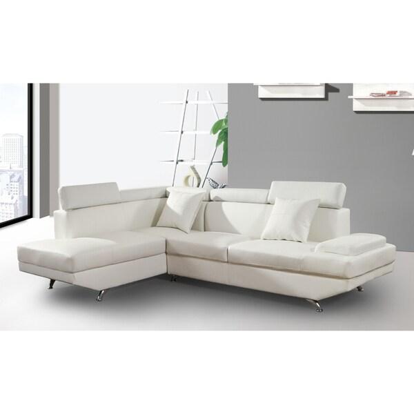 Elena White Leather Modern 2-Piece Sectional Sofa Set