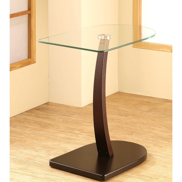 Semi Oval Shaped Wood And Glass Accent Table 16930138