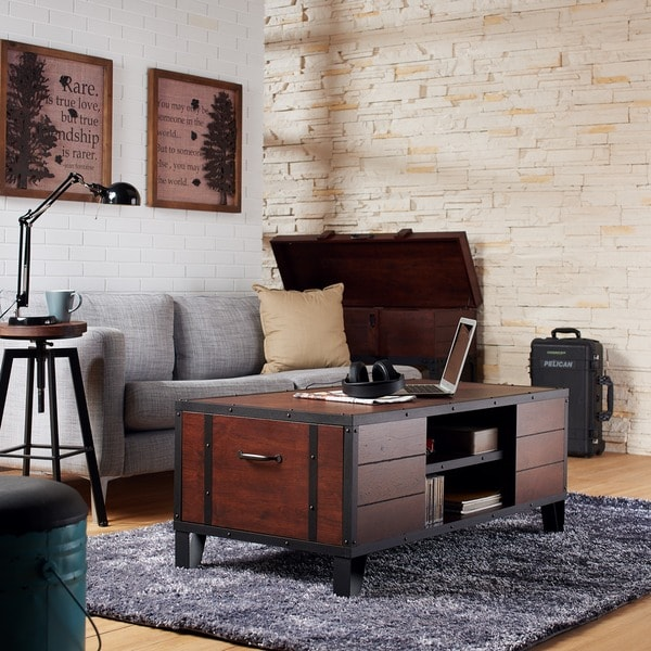 Furniture Of America Sivenza Vintage Walnut Industrial