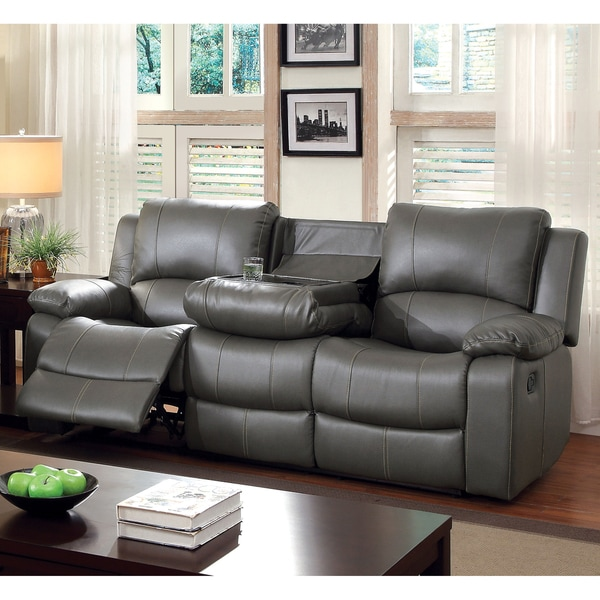 Furniture Of America Rembren Grey Bonded Leather Reclining