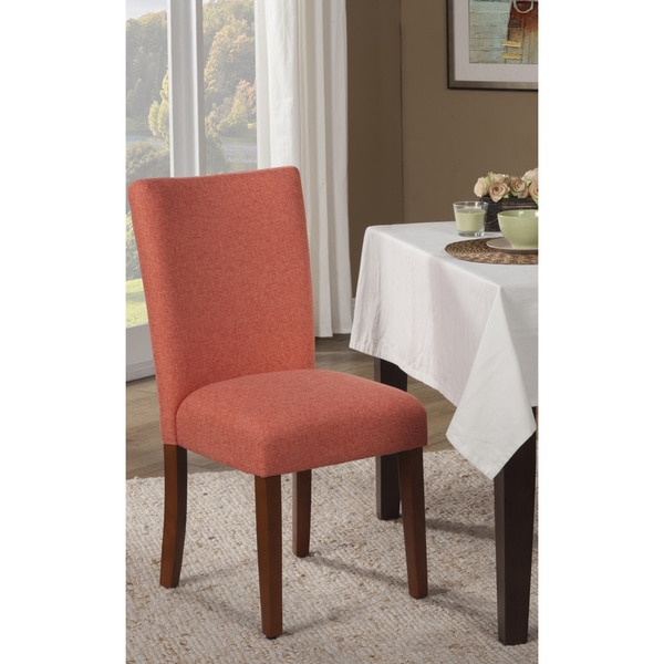 HomePop Dark Coral And Cream Houndstooth Parson Dining