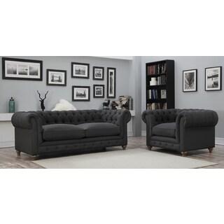 Sussex Gray Linen Club Chair 14430893 Overstock Com