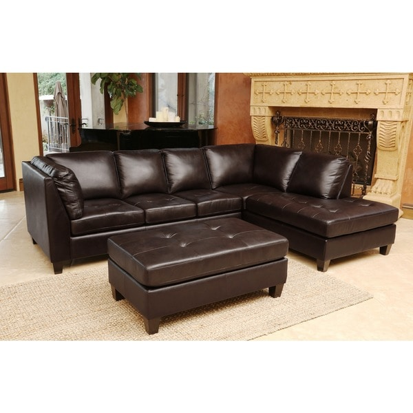Abbyson Living Charlie Top Grain Leather Sectional And