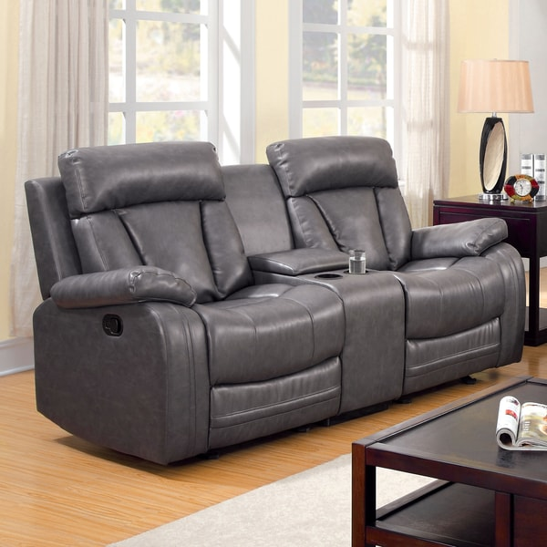 Furniture Of America Hurshel Grey Faux Leather Reclining
