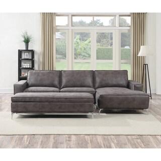 Franklin Black Modern Sectional Sofa With Adjustable