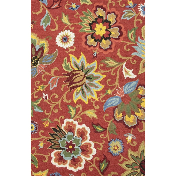 Hand Tufted Floral Pattern Red Blue Wool Area Rug 3 6 X