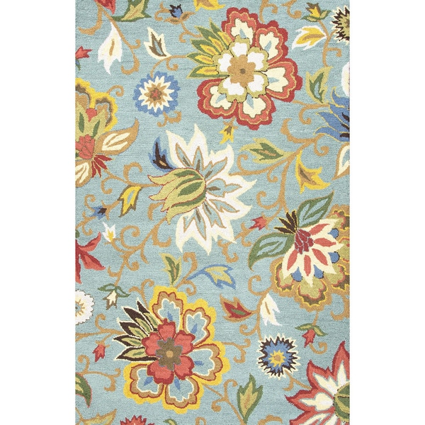 Hand Tufted Floral Pattern Blue Multi Wool Area Rug 2 X