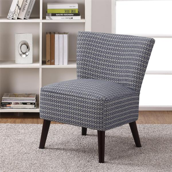 Avenue Greene Kinsley Armless Blue Patterned Accent Chair
