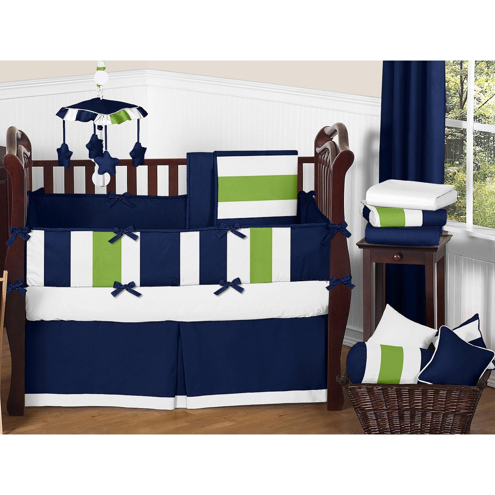 Sweet Jojo Designs Navy Blue/ Lime Green/ White Stripe 9