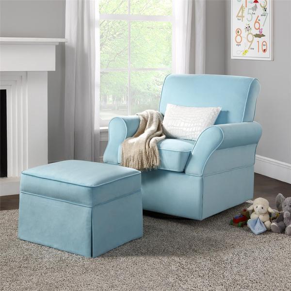 Baby Relax Kelcie Blue Swivel Glider Amp Ottoman 16960130
