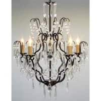 Swag Plug In Wrought Iron Crystal Chandelier Lighting H27 x W21
