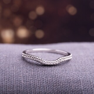 Sterling Silver 1/10ct TDW Diamond Anniversary Style Contour Stackable Wedding Band