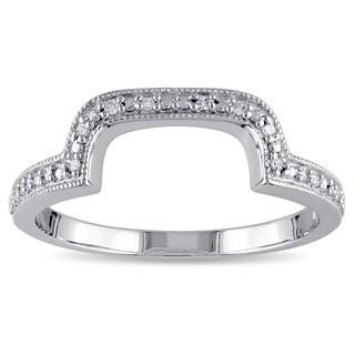 Miadora Sterling Silver Diamond Accent Contour Wedding Band Ring