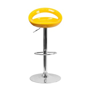 Yellow Surf Curved Wood Barstool 13843236 Overstock