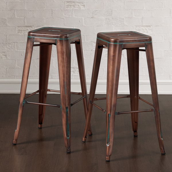 Tabouret 30 Inch Weathered Copper Bar Stools Set Of 2