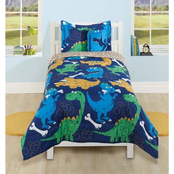 Funny Dinosaur 4-piece Comforter Set with Decorative ...