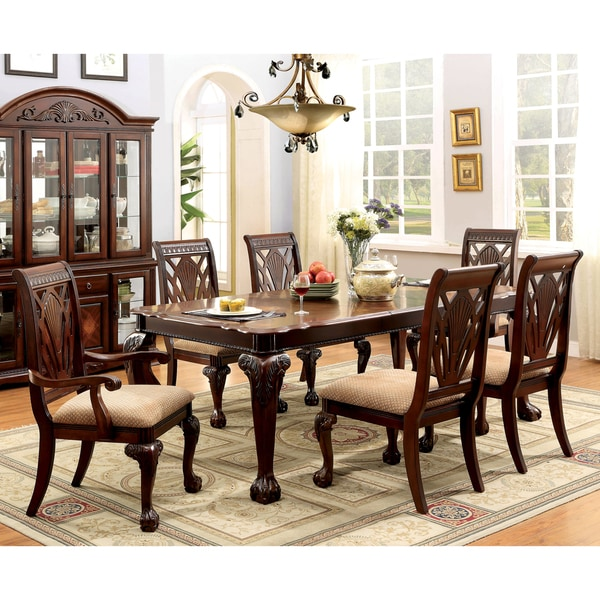 Cherry Dining Sets: Furniture Of America Ranfort Formal 7-Piece Cherry Dining