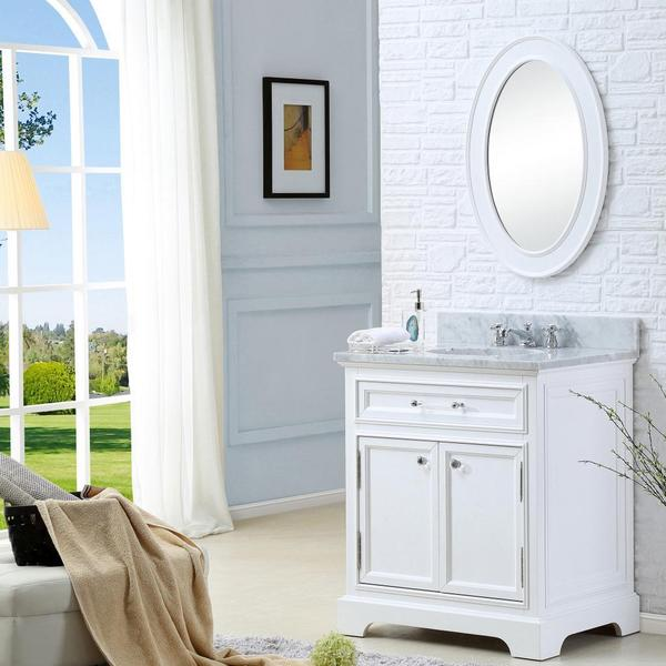 Water creation derby 30 inch solid white single sink - 30 inch white bathroom vanity with sink ...