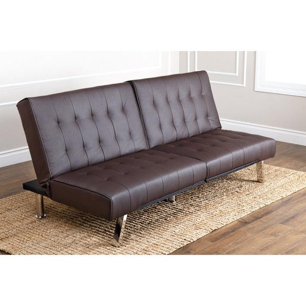 Abbyson Living Jackson Dark Brown Leather Foldable Futon