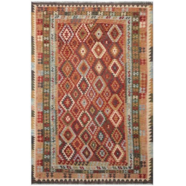 Herat Oriental Afghan Hand-woven Tribal Wool Kilim - 7' x 10'4