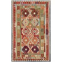 Herat Oriental Afghan Hand-woven Tribal Wool Kilim - 6'4 x 9'6