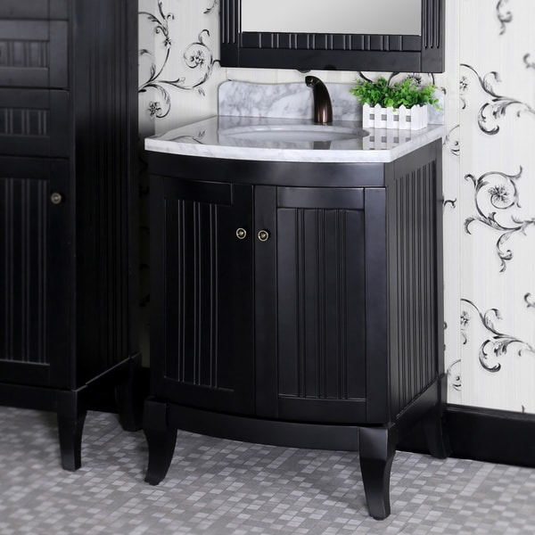 27 Inch Bathroom Vanities: Country Style 27-inch Carrara White Marble Top Black