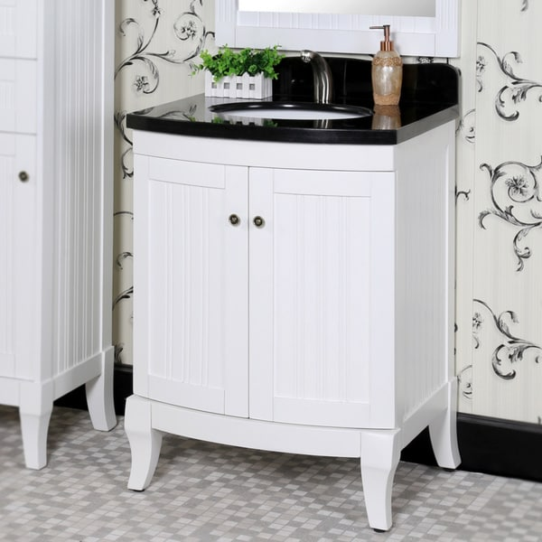Country Style 27-inch Black Granite Top White Single Sink ...