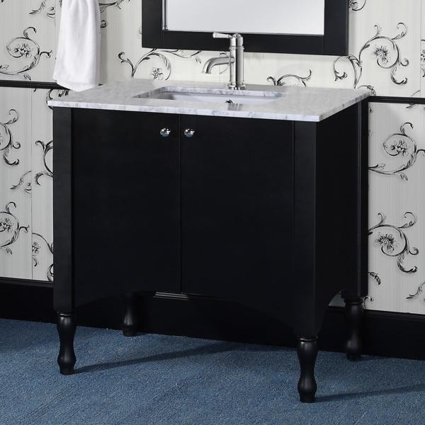 Contemporary Style 40-inch Black Finish White Carrara ...