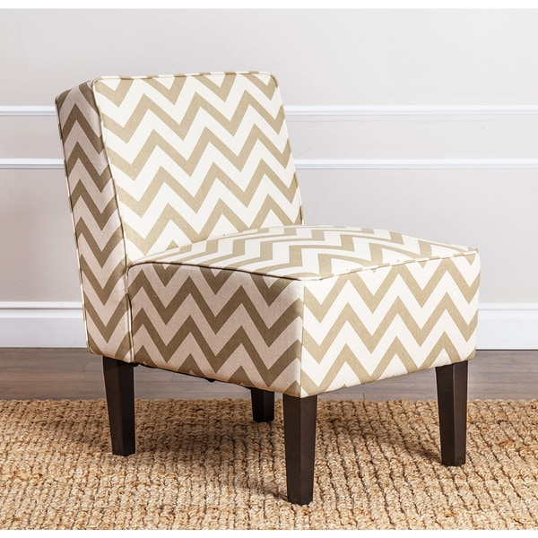 Abbyson Living Sasha Gold Chevron Fabric Slipper Chair
