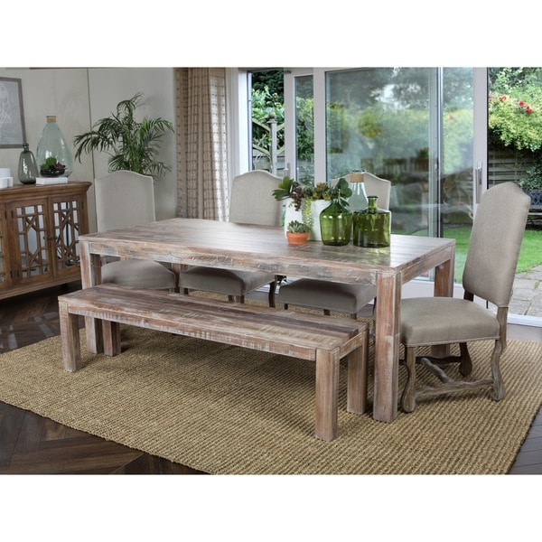overstock dining room tables | Kosas Home Hamshire 60-inch Distressed Reclaimed Wood ...