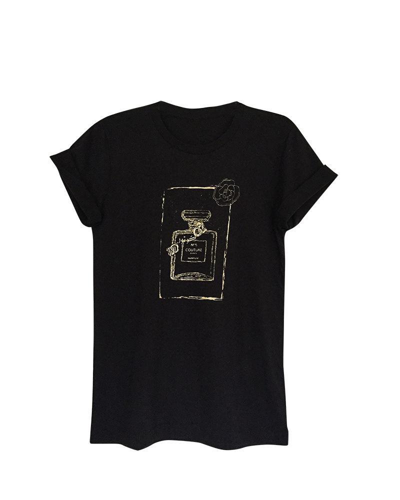 Couture Perfume Bottle Black Short Sleeve Women's Graphic Tshirt