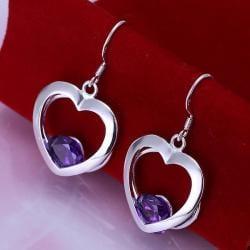 Vienna Jewelry Sterling Silver Hollow Hearts with Sapphire Gem Earring - Thumbnail 0