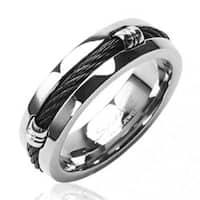 Solid Titanium with Black Chain Design Ring