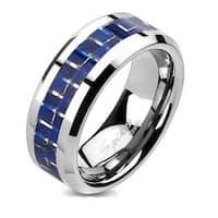 Blue Carbon Fiber Inlay Ring Solid Titanium