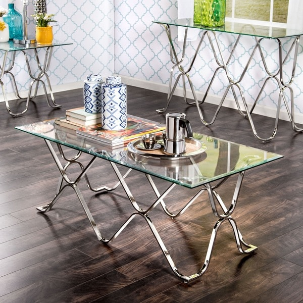 Furniture Of America Tellarie Contemporary Chrome Coffee