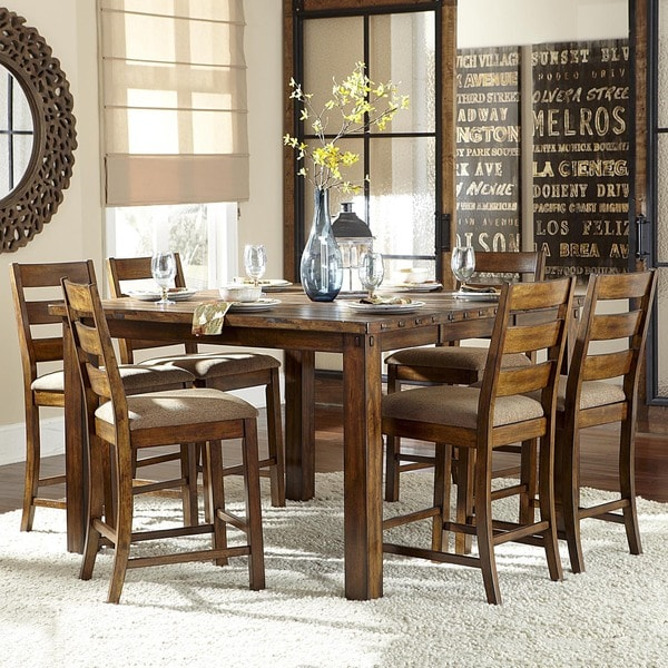 7 Piece Counter Height Dining Room Sets: Maddox Rustic Counter Height Burnished 7 Piece Extending