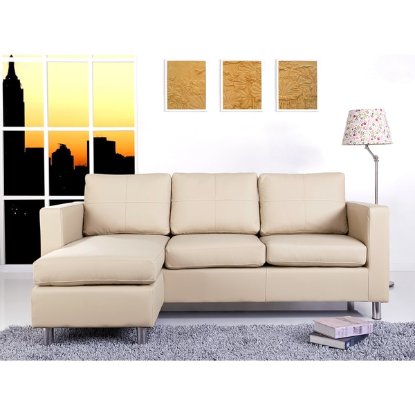 Abbyson Living Bella Cream Pu Leather Sofa Sectional