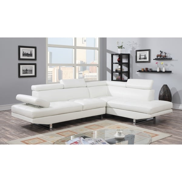 White Bonded Leather Sectional 17081402 Overstock Com