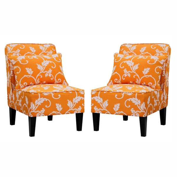 Green Orange Pattern Accent Chair: Better Living Wylie Orange Vine Pattern Armless Chairs