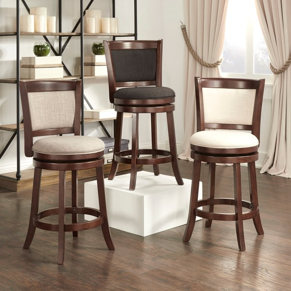 Bar Stools 24 Counter Height: TRIBECCA HOME Verona Panel Back Linen Swivel 24-inch