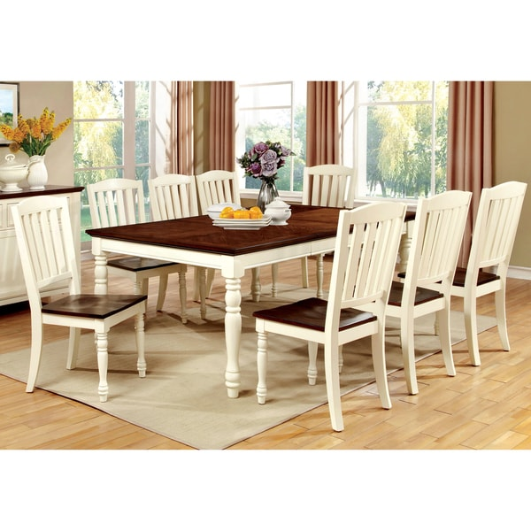 Cheap Dining Room Table And Chairs For Sale: Furniture Of America Bethannie Cottage Style 2-Tone Dining