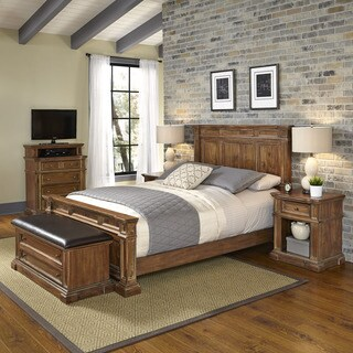 Americana Vintage Bed, Two Night Stands, Media Chest, and Upholstered Bench by Home Styles