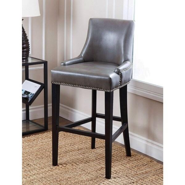 Grey Leather Bar Chairs: ABBYSON LIVING Newport Grey Leather Nailhead Trim Bar
