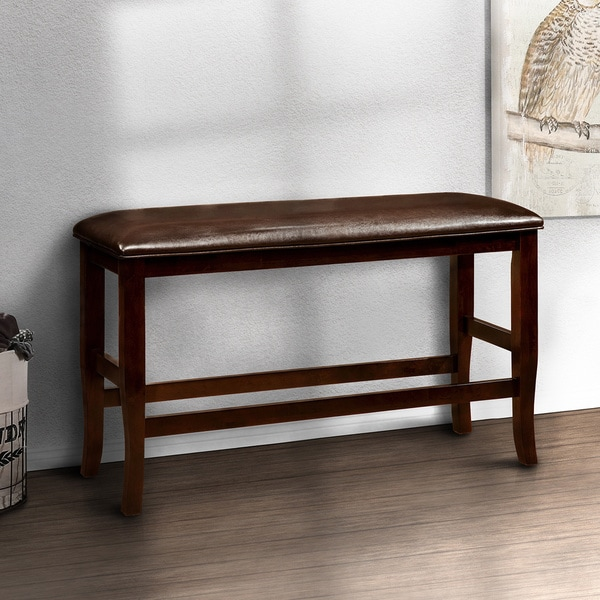 Tripton Extra Large Upholstered Bench: Furniture Of America Clemmine Espresso Counter Height
